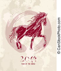 Chinese new year of the Horse abstract shape file - 2014...