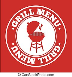 grill menu over red background vector illustration