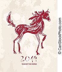 Chinese new year of the Horse abstract red shape file.