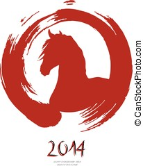 Chinese new year of the Horse red brush zen circle - Red zen...
