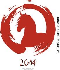 Chinês, Novo, ano, cavalo, vermelho, escova, Zen,...