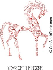 Chinese new year of the Horse abstract sketch illustration....