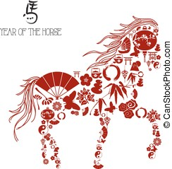 Chinese new year of the Horse: icons composition. - Asianl...