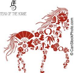 Chinês, Novo, ano, Horse:, ícones,...