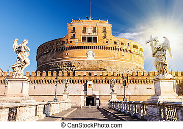 SantAngelo fortress, Rome - Saint Angel Castle and bridge...