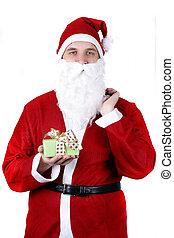 Santa Claus with a present and a sack full of fruit