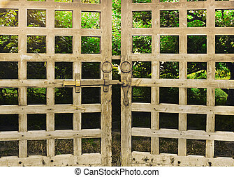 old gates - medieval wooden gate