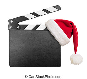 Clapper board with Santas hat on it isolated on white