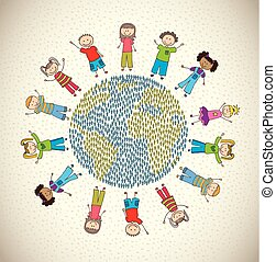 children world over beige background  vector illustration