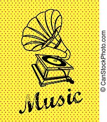 gramophone design over yellow background vector illustration...