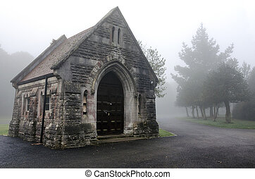 Foggy Cemetery - Creepy chapel in a foggy cemetery