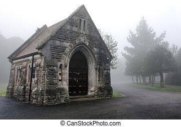 Foggy Cemetery - Creepy chapel in a foggy cemetery