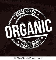 organic label over black background vector illustration