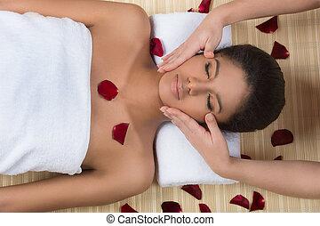 Beauty treatment. Top view of beautiful young women getting...