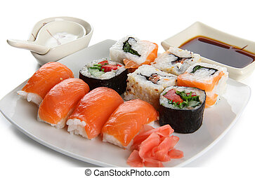 Asian food - Color photograph of Japanese sushi on a plate