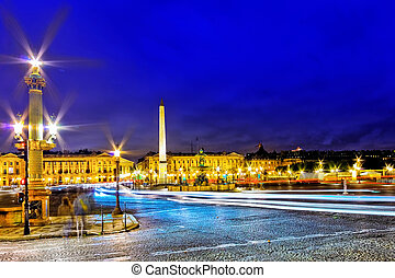 Place de la Concorde at night, Paris, France.