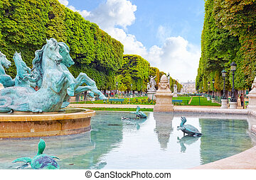 Luxembourg Garden in Paris,Fontaine de Observatoir.Paris