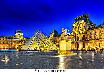 parís, -, septiembre, 17, vidrio, pirámide,...