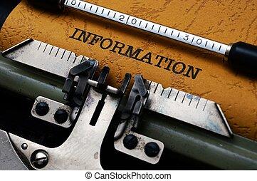 information,  Text, skrivmaskin