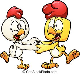 Dancing chickens - Cute cartoon dancing chickens. Vector...