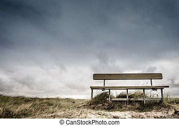 Empty bench - Empty wooden bench in cloudy weather