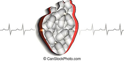 Human heart and pills