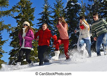 winter fun with young people group - happy young people...