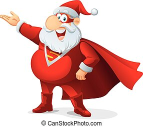 Super Santa - Vector Cartoon - Santa Claus as a superhero,...