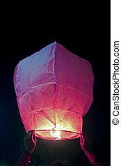 kongming lantern sky lantern in Human Hand