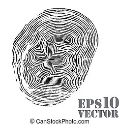 Fingerprint with pound sterling sign. Vector illustration.