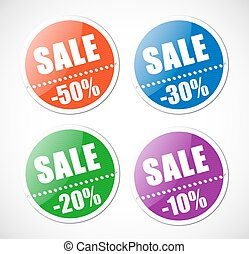 Sale stickers with perforation. Set of four colors.