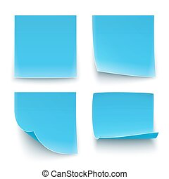 Papers stickers - Four blue paper stickers, twisted on...