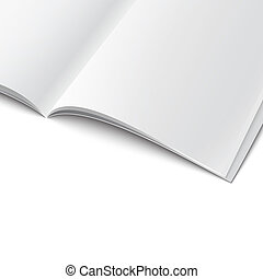 Close-up of blank opened magazine template. - Closee-up of...