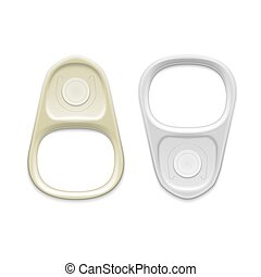 Metal ring pull isolated on white background Packaging...