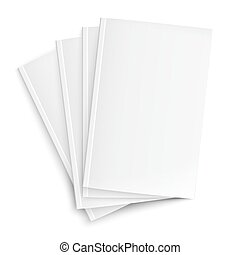 Stack of blank magazines template. on white background with...