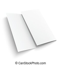 Blank trifold paper brochure. on white background with soft...