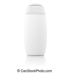 White shampoo bottle template. - White plastic bottle...