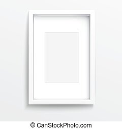 White vertical frame on gray wall. - White vertical frame on...