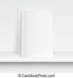 Two blank white magazines on white shelf.. - Two blank white...