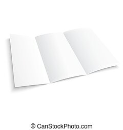 Blank trifold paper brochure on white background with soft...