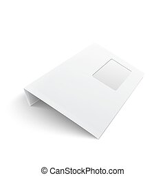 Blank envelope with window on white background. - White...