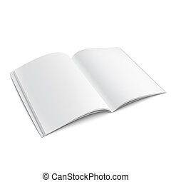 Blank opened magazine template with soft shadows. - Blank...