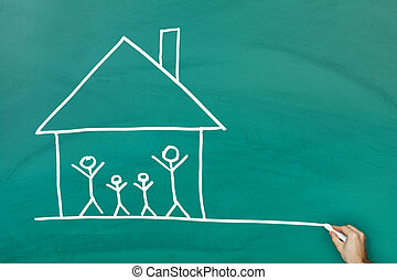 Family at home concept on green blackboard