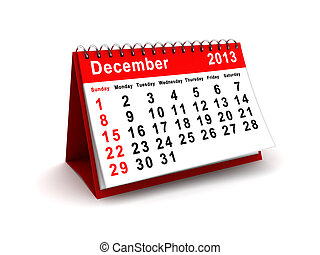 December 2013 calendar - 3d illustration of December 2013...