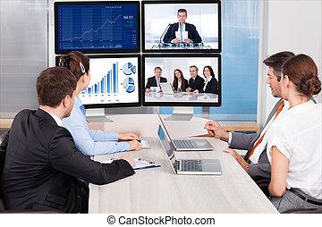 看, 屏幕, 電腦,  businesspeople