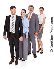 Businesspeople Standing In A Row