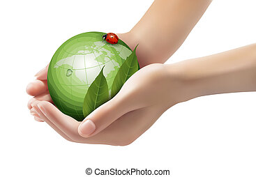 Green world and leaf have love bug in woman hands. Vector illustration.