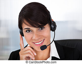 Callcenter Employee With Headset - Happy Young Female...