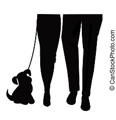 mans best friend in silhouette - man and woman walking with...