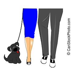 mans best friend - woman and man walking dog